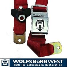 3 - Point Seat Belt, Red, Chrome Buckle 50-67. VW Split Screen Camper Van Bus