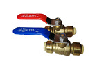 "2 PIECES 1/2"" SHARKBITE STYLE PUSH FIT BALL VALVE HOT AND COLD, LEAD FREE BRASS"