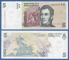 """Argentina 5 Pesos P 353 UNC ND (2003) Serie """"H"""" 2013 Low Shipping! Combine FREE!"""