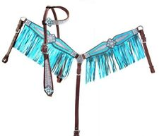 Showman TEAL Bejeweled Metallic Leather Bridle & Breast Collar Set w/ Fringe NEW