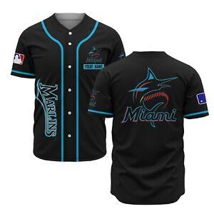 Miami Marlins Black Fanmade AOP Baseball Jersey XS-4XL