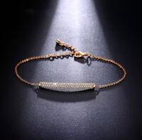 18K Rose Gold Bracelet made w/ Authentic Swarovski Crystal Clear Pave Stone