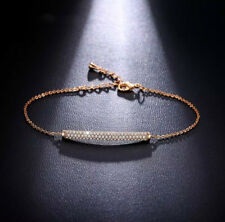 18K Rose Gold Bracelet made w/ Authentic Swarovski Crystal Clear Pave Stone