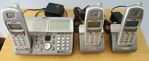 3 V-TECH 5.8GHZ Cordless Phones 1 Main Base and 2 Extension Bases NO BATTERIES