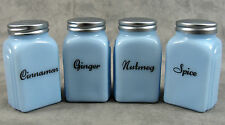 DELPHITE BLUE GLASS 4 PC ARCH SPICE JAR SHAKER SET Cinnamon Ginger Nutmeg Spice