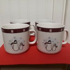 "Royal Seasons Stoneware ""Snowman"" Cups Mugs - Set Of 4 Holiday Christmas Table"
