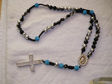 Shamballa Crucifix cross Necklace - Turquoise & Silver Colour & Diamante Cross