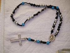 Shamballa Crucifix cross Necklace - Turquoise & Silver Colour & Diamante Cross