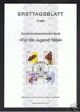 GERMANIA FOGLIO PRIMO GIORNO PRO GIOVENTU INSETTI 1984