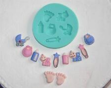 silicone MOULD mold BABY  fondant sugarpaste  6 FIGURE footprints bottle pram