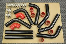 RED/BLACK ALUMINUM TURBO INTERCOOLER PIPING KIT 8PCS TURBOCHARGER SUPERCHARGER