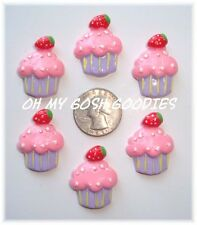 6PC STRAWBERRY PINK CUPCAKE FLATBACK RESIN FLAT BACK BRIGHT 4 HAIRBOW BOW CENTER