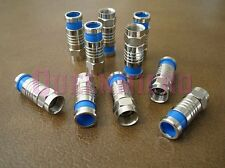 25 Pack - F Compression Shield Quad RG6 Connector Adapter Coax Sat TV Cable Blue