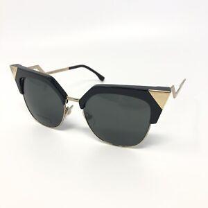 FENDI FF 0149/S REW/P9 Cat-Eye Sunglasses Black & Gold / Grey Lens 54mm *Flaw*