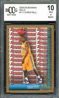 2005-06 Bowman Gold #111 Chris Paul Rookie Card BGS BCCG 10 Mint+