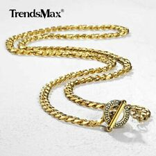 """Gold Plated Stainless Steel Chain Necklace 20/22/24"""" Cuban Curb Link OT Toggle"""
