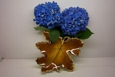 CERAMIC BIG MAPLE LEAF POCKET VASE--AUTUMN COLOR WITH GOLD TRIM