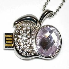 USB Stick 8 GB Apple Sheets Rhinestone Jewellery Pendant Necklace Apple Pink new