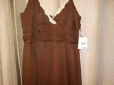 NWT new JONATHAN MARTIN MACYS washable silk dress 12 petite brown $79 lined