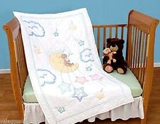 """Jack Dempsey Stamped Cross Stitch kit 40"""" x 60""""~ BEAR ON THE MOON QUILT TOP #113"""
