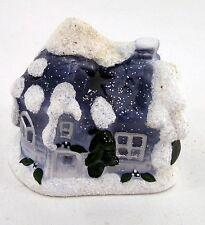 Winterliches Weihnachtshaus Teelicht Windlicht aus Keramik blau weiß ca. 11,5 cm