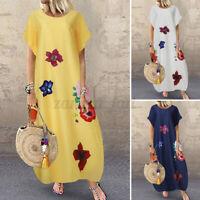 Womens Summer Short Sleeve Sundress Casual Loose Floral Printed Long Maxi Dress