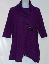 Thomas & Olivia Petite Cowl Neck 3/4 Sleeve Textured Top Wild Orchid PS NWT