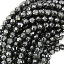 Natural Faceted Hematite Round Beads 15.5
