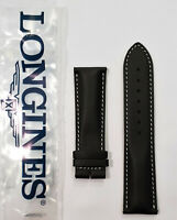 Original Longines 22mm Black Leather Watch Band Strap # L682150231
