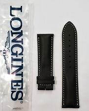 Original Longines 22mm Black Leather Watch Band Strap # L682150231