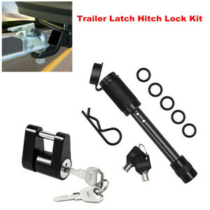 Trailer Latch Hitch Locking Receiver + 1/4  Lock Secure Safety Towing Tongue Pin