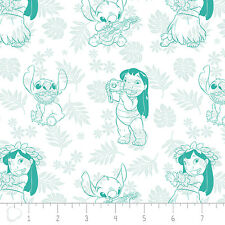 Lilo & Stitch Hula Toile in Turquoise Disney 100% Cotton fabric by the yard