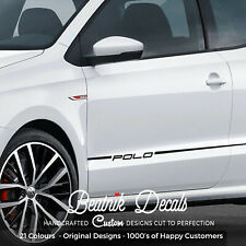 VW Polo Side Stickers Stripes Graphic Volkswagen Decal Vinyl Black White +19