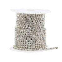 10M  Clear Crystal Rhinestone Chain Silver Costume Applique Sew On Trim Lace