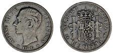 1 SILVER PESETA SPAIN / 1 PESETA PLATA ESPAÑA. ALFONSO XII. 1876*. VF/MBC.