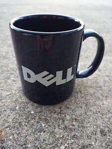 VINTAGE Dell Computer Blue Marble Ceramic Mug Coffee Tea Cup Retro Decor Geek