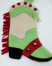 Cowgirl Cowboy Boot Christmas Stocking Felt w/Bell Fringe