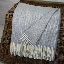 Grey Herringbone 100% Wool British Made Tweed Fabric Blanket Throw