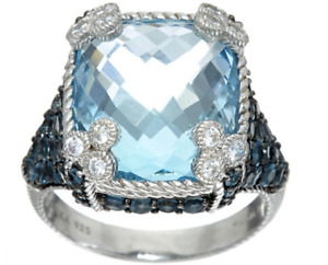"Judith Ripka Sterling Silver 16.50 cttw Blue Topaz ""Monaco"" Ring in size 8 boxed"