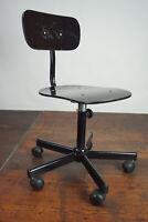Vintage Bürostuhl Drehstuhl Schreibtisch Stuhl Architektenstuhl schwarz 70er
