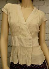 Brown Sugar Top Sz 10 Beige Cross Over Wrap Cap Sleeves Silk Trim Career Stretch