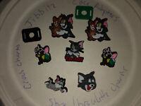 Tom & Jerry Lot Of 7 Crocs Shoe,Bracelet Charms,Jibbitz +2 Lace Adapters