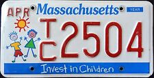"MASSACHUSETTS "" INVEST IN CHILDREN - KIDS "" MA Specialty License Plate"