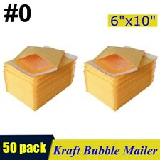 "50pcs #0 6""x10"" Kraft Bubble Mailers Padded Self Seal Shipping Bags Envelopes"
