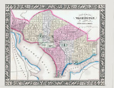 1861 MITCHELL Hand Colored Map WASHINGTON DC -Street Level Detail - Outstanding