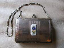 Antique Art Deco Silver T White Guilloche Card Case Dance Double Compact FMCo