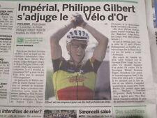 PHILIPPE GILBERT : GAGNE LE PRIX DU VELO D'OR 2011 - 28/10/2011