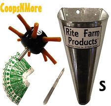 *COMBO* S8 RITE FARM DRILL CHICKEN PLUCKER SMALL KILL CONE 10 BLADES & SCALPEL