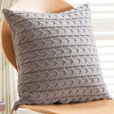 Double-Side Cable Knit Throw Pillow Cushion Cover Gray Cotton Wool Home Decor