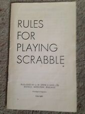 Scrabble Game, Set Of Instructions. Genuine Spears Games Parts.